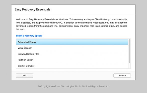 Screenshot of Easy Recovery